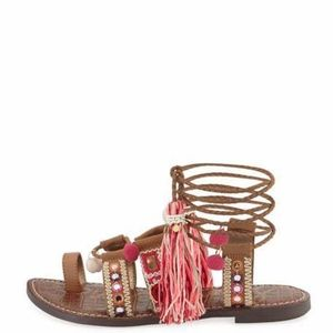 Sam edelman strappy sandals boho embroidered -8.5